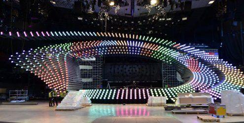 Die Song Contest-Bühne in der Wiener Stadthalle ist aufgebaut