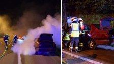 Pkw geriet aufder A2 in Brand