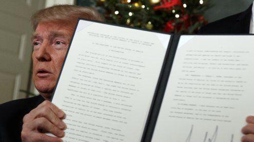 Trump: USA erkennen Jerusalem als die Hauptstadt von Israel an